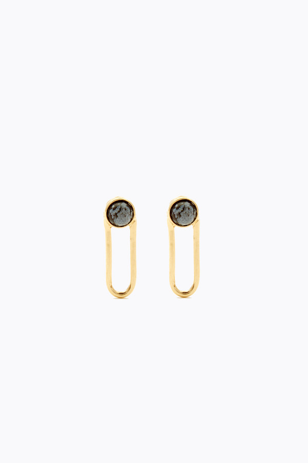 Odette New York Linq studs in sterling & snowflake obsidian