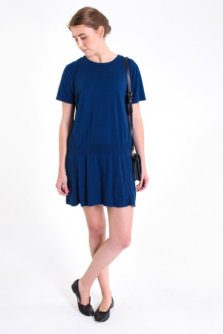 Clu Paneled short sleeve dress in Sea Blue