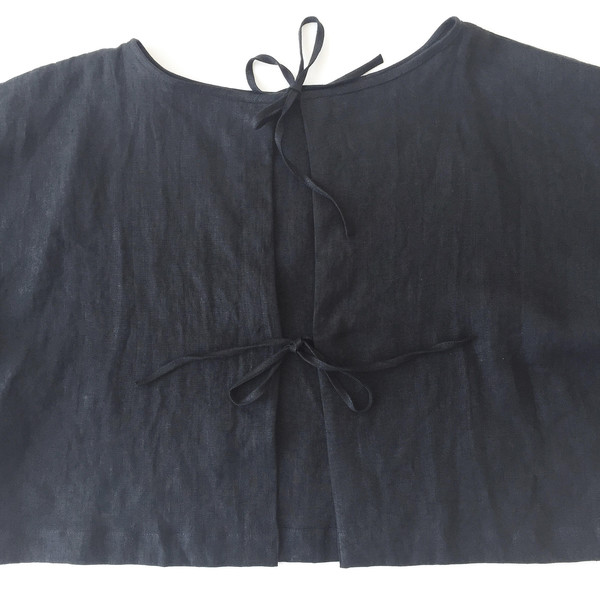 LLOYD Black Linen Tie Back Top