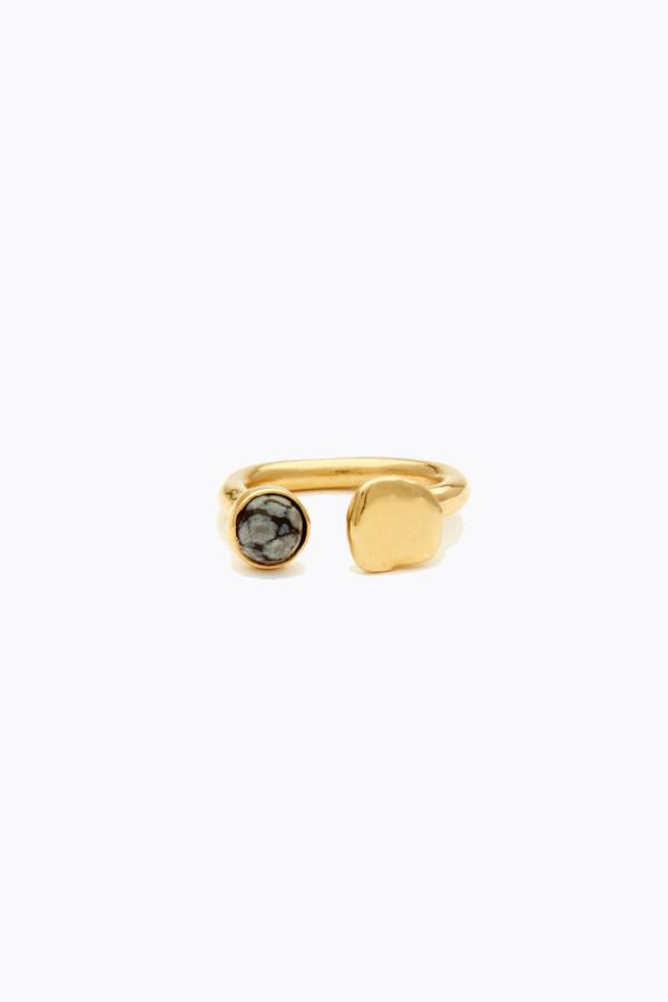 Odette New York Tilt ring in brass and snowflake obsidian