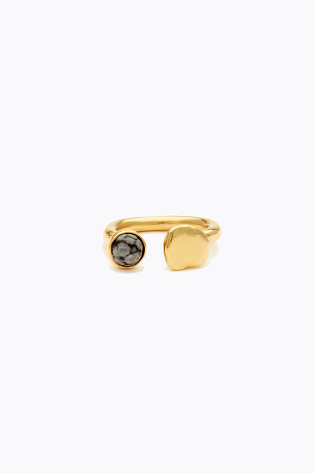 Odette New York Tilt ring in brass and snowflake obsidian