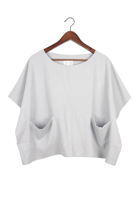 Jamie + The Jones Pocket Box Top, Mist Gray Raw Silk
