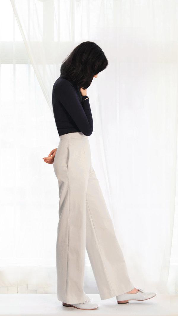 Sunja Link Cotton Canvas Tube Leg Pant