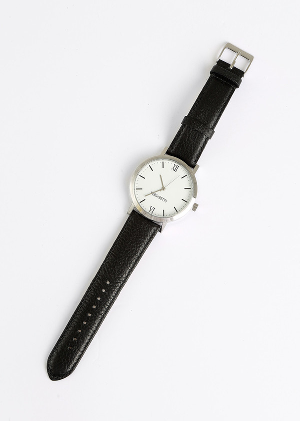 Berg + Betts Black and Silver Round Watch