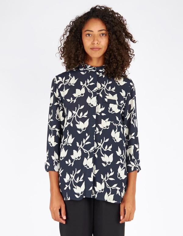 Ganni Maxwell Crepe Shirt Vanilla Ice Bell Flower
