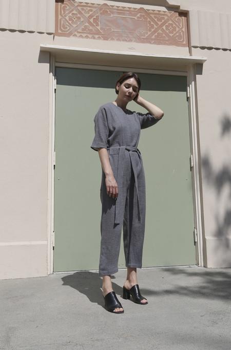 No.6 Mae Front Zip Jumpsuit in Grey Wool Gauze