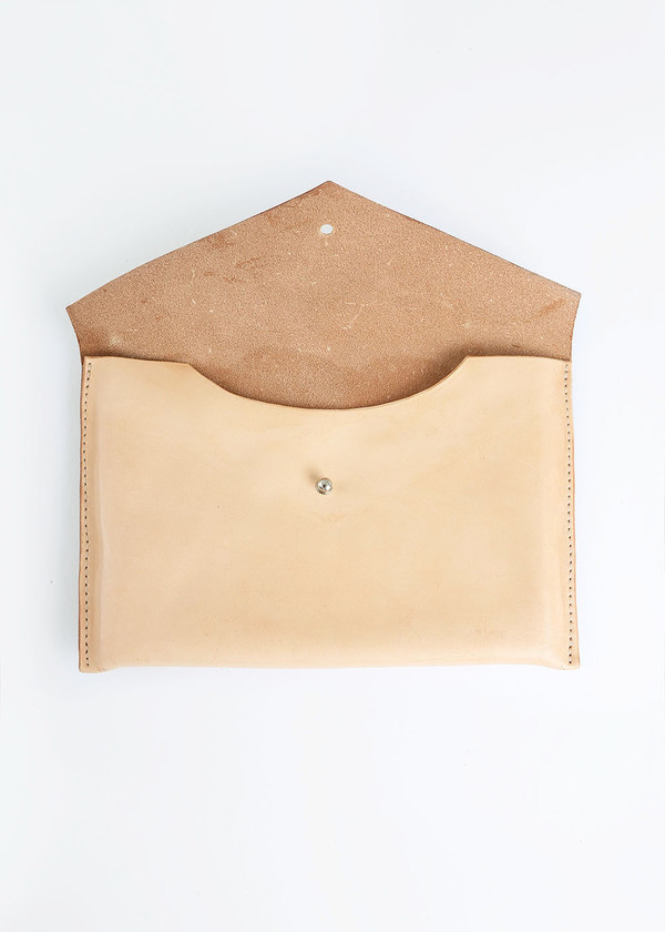 Sylvia Soo Leather Nude Envelope Clutch