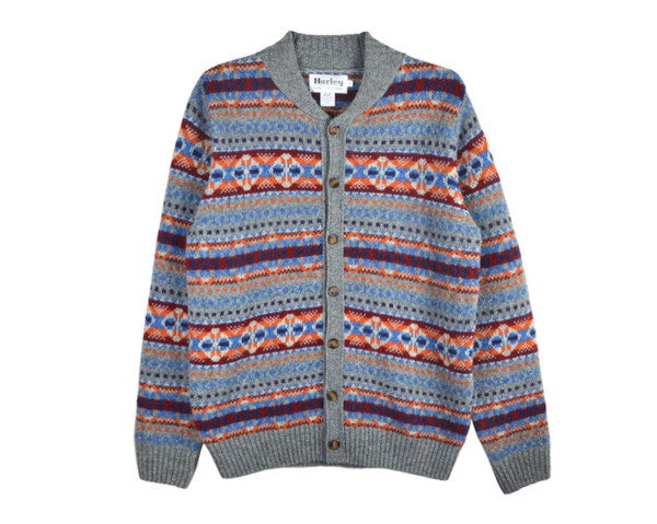 Harley of Scotland Jacquard Cardigan