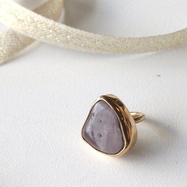 Unknown Rose Quartz Bronze Bezel Ring