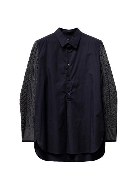 Ys by Yohji Yamamoto Womens Knit Sleeve Shirt Navy/Grey