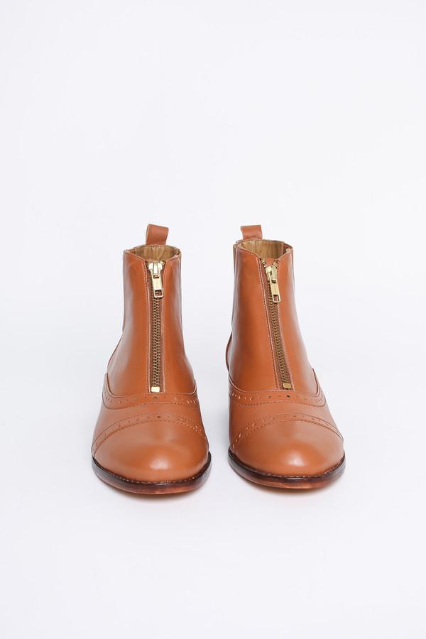 Nina Payne Charli zip-front oxford bootie in cognac