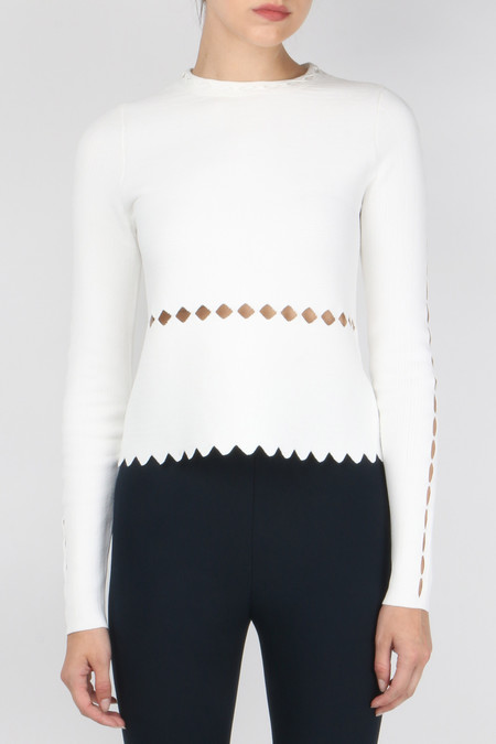 Jonathan Simkhai Slashed Mock Neck Long Sleeve Top