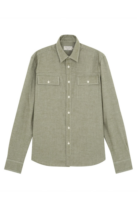 Men's Kitsune Flannel Military Shirt | Khaki