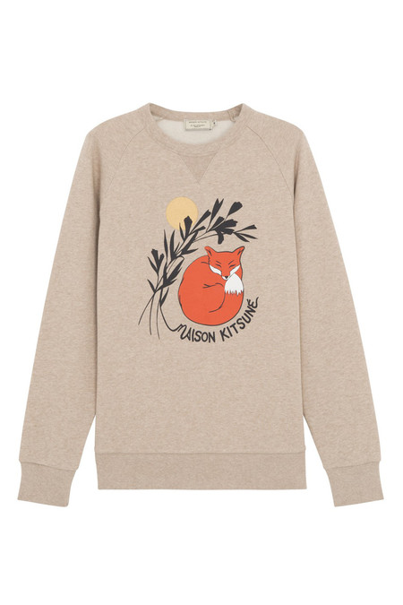 Men's Kitsune Sweatshirt Dan-ah Kim Sleeping Fox | Beige Marle
