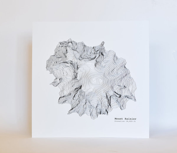 Tim + April Topographic PNW Mountain Prints (Set of 6)