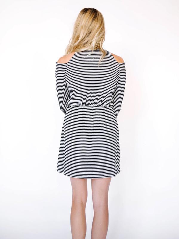 Everly Cold Shoulder Stripe Dress