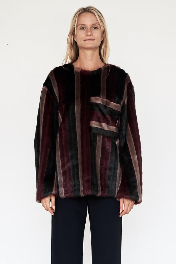 CF. Goldman Faux Fur Patch Pullover