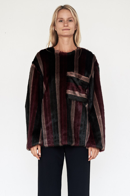 CF. Goldman Faux Fur Patch Pullover