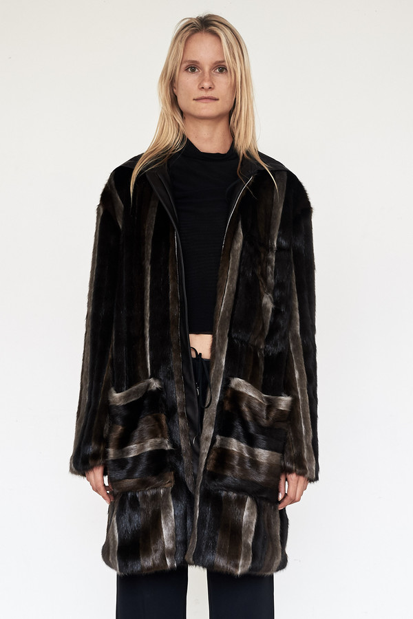 CF. Goldman Faux Mink Patch Coat