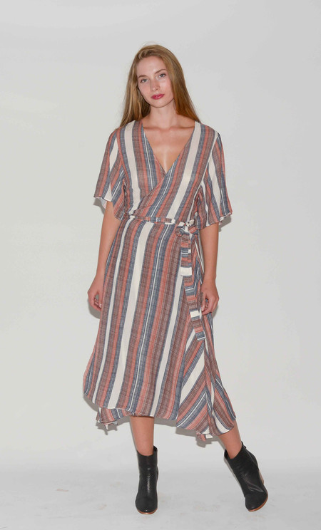 Just Female Striped Wrap Dress