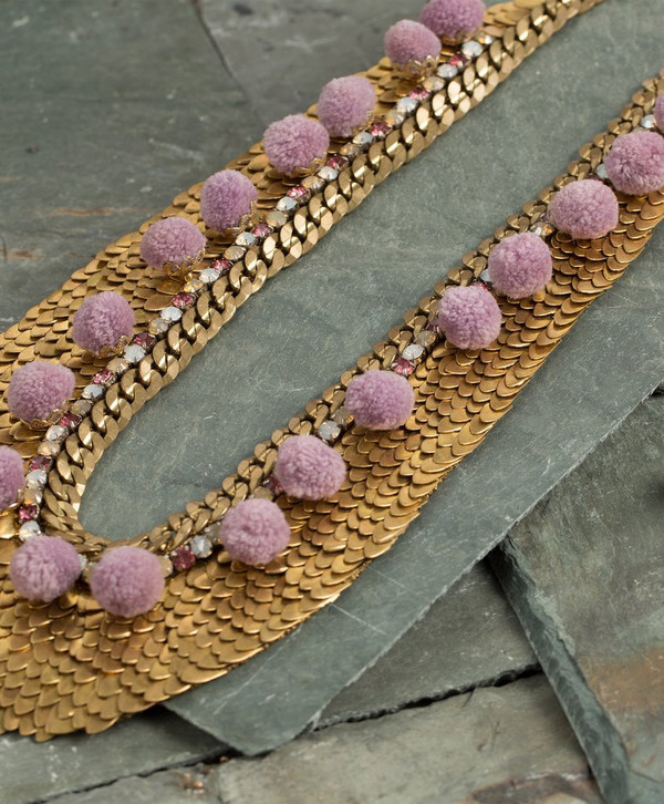 Deepa Gurnani Gold Brass Sequin Ashanti Necklace