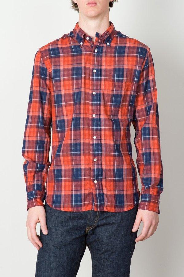 Men's Red Gingham Plaid Long Sleeve