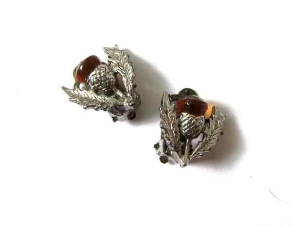 scottish thistle clip on earrings