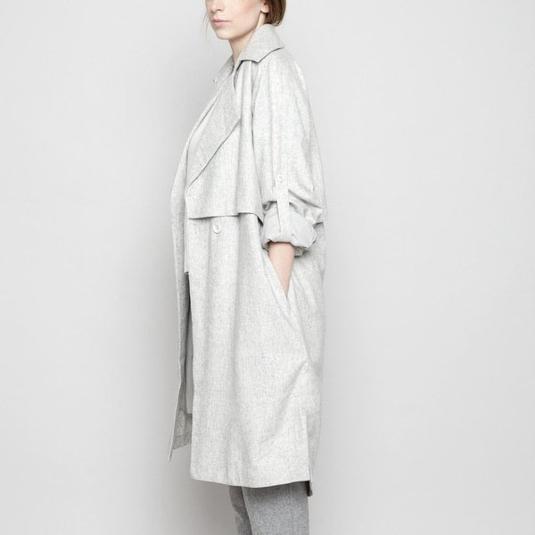 7115 by szeki Light Grey Wool Trench Coat