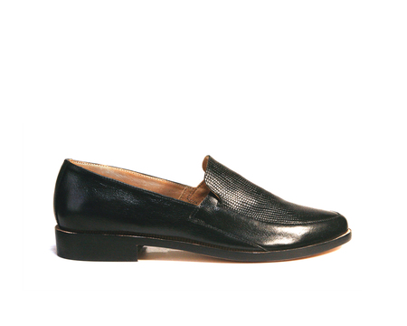 Zou Xou Loafer in Black Snake Embossed Leather