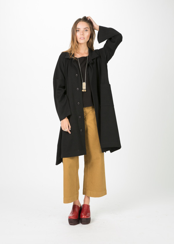 Nocturne #22 Draped Knit Wool Coat