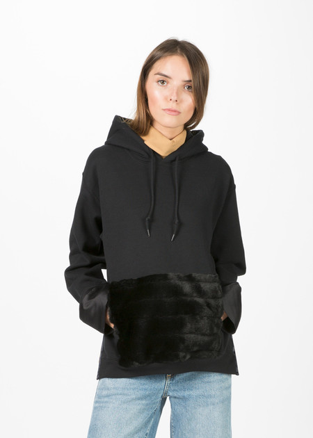 Harvey Faircloth Hoodie with Faux Fur Pocket