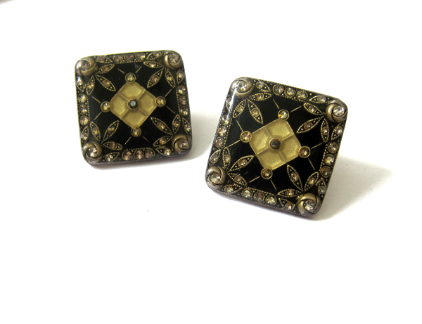 nouveau enamel rhinestone earrings