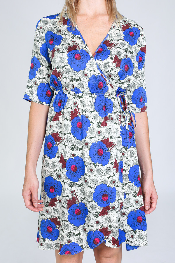 Tracy Reese Elbow Sleeve Wrap Dress in velvet night