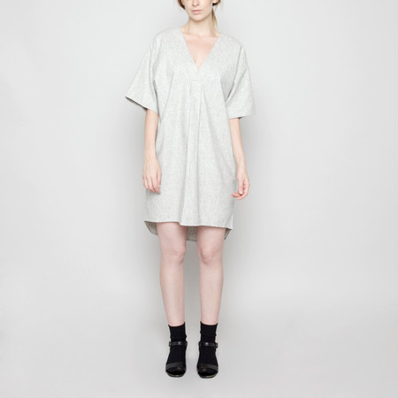 7115 by Szeki V-Neck Cocoon Wool Dress - Light Gray FW16