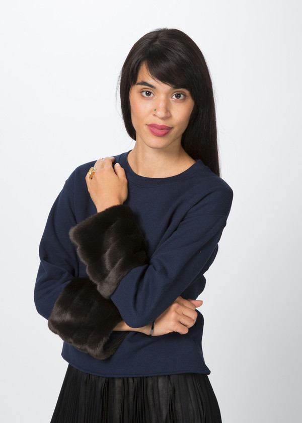 Harvey Faircloth Faux Fur Cuff Pullover