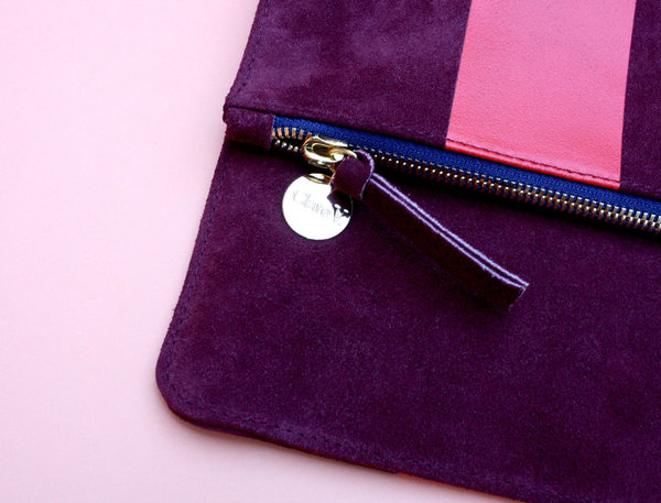 Clare V. Oxblood Foldover Clutch