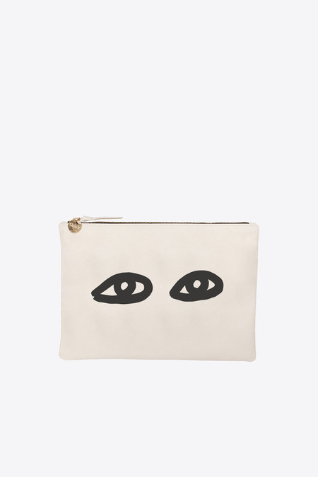 Clare V. Flat clutch supreme in cream with black eyes