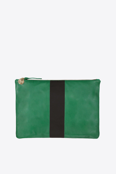 Clare V. Foldover Clutch in emerald nappa with diagonal stripe