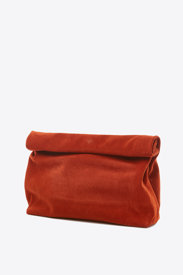Marie Turnor Lunch Clutch in paprika suede
