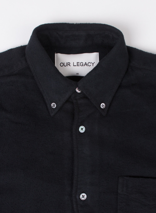 Men's Our Legacy 1950's Shirt Black Peeled Flannel