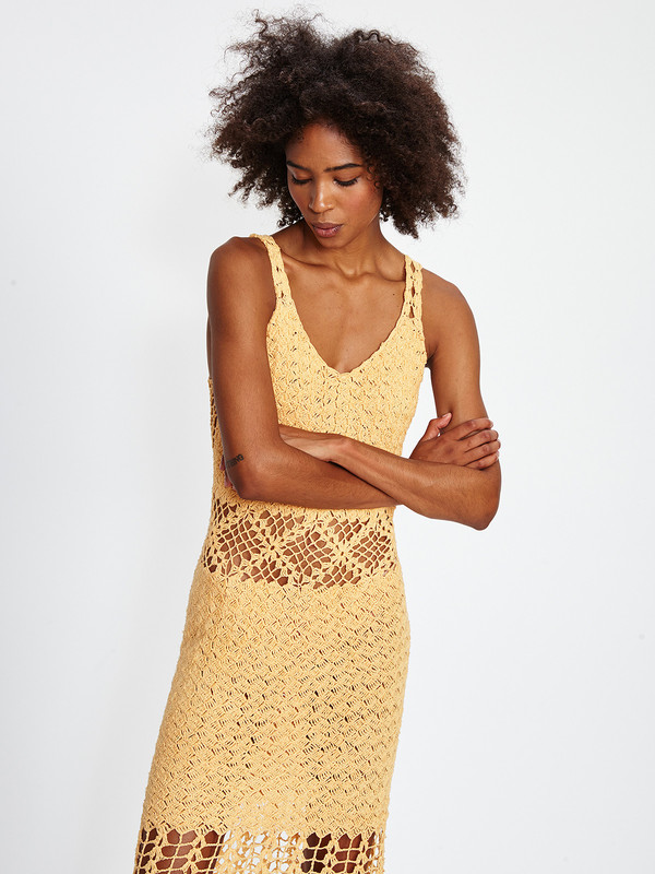 Harare CROCHET LONG DRESS / TANGERINE