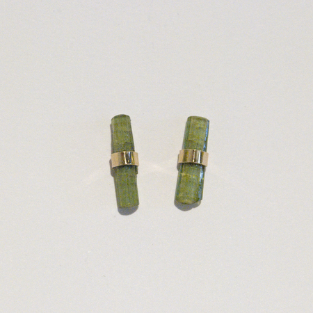 BLTN Crystal Bar Studs - Green Tourmaline