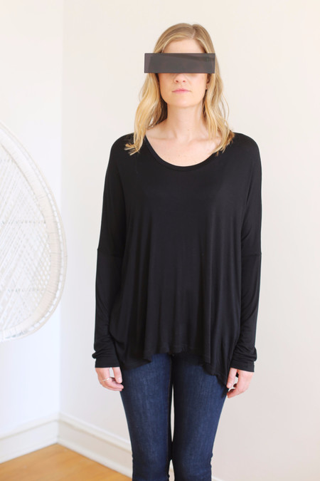 Margaux Lonnberg Ines Long Sleeve Tee in Black