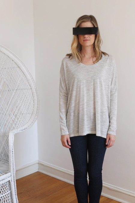 Margaux Lonnberg Ines Long Sleeve Tee in White with Black Stripes