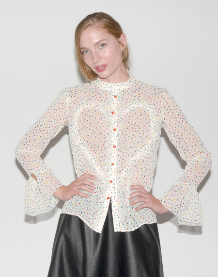 """One Imaginary Girl """"Love in the First Degree"""" Printed Victorian Blouse"""