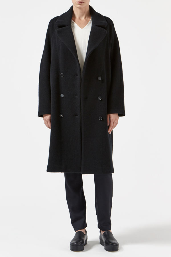 Black Cashmere Martel Coat by Oyuna