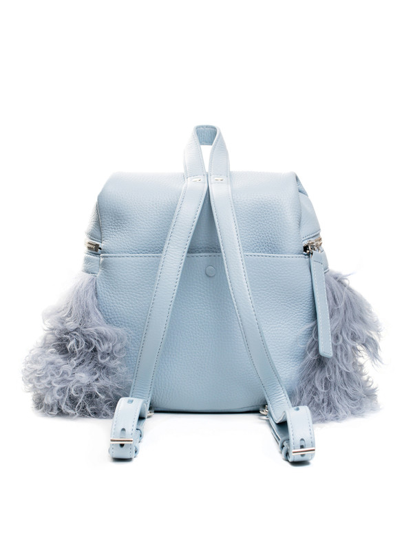 Kara Womens Small Shearling Backpack Sky Blue