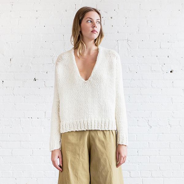 Anaak Mori Handknit Oversize V-Neck Pullover