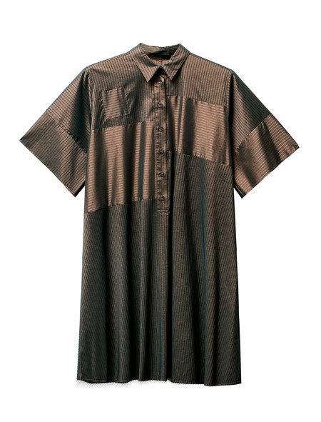 MM6 by Maison Margiela Womens Striped Shirtdress Bronze