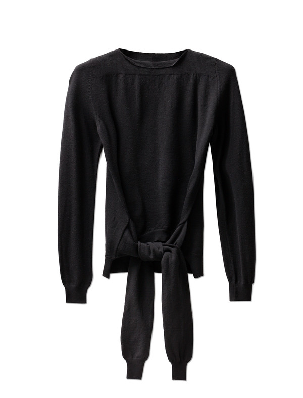 MM6 by Maison Margiela Womens Tie Sleeves Top Black
